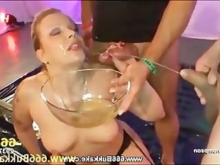 Yvette gets fucked while drinking piss
